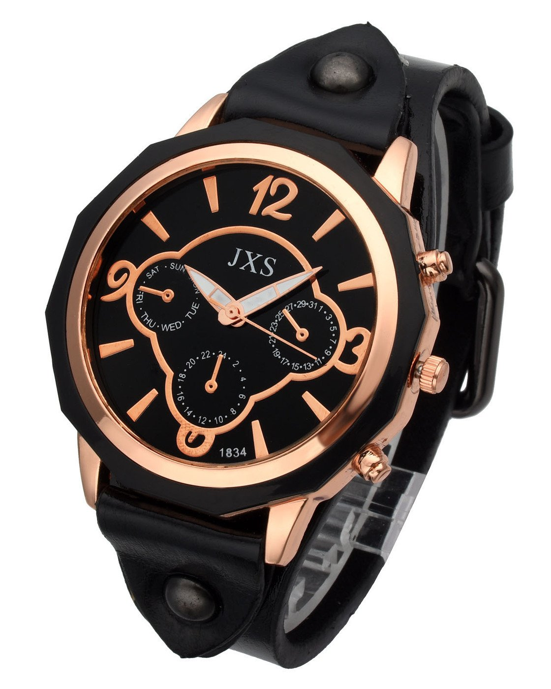 Top Plaza Womens Mens Fashion Rose Gold Tone Leather Analog Quartz Wrist Watch Arabic Numerals Big Face Casual Sport Watch - Black by Top Plaza (Image #1)
