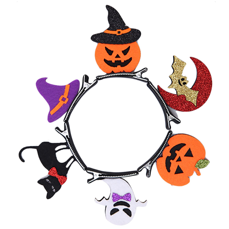 Beetest® - 6 pz Clip per capelli Fermagli Capelli Bambina/Adulti, Kit Bat Zucca Gatto del fantasma Cappello Capelli Perni per Halloween Accessori