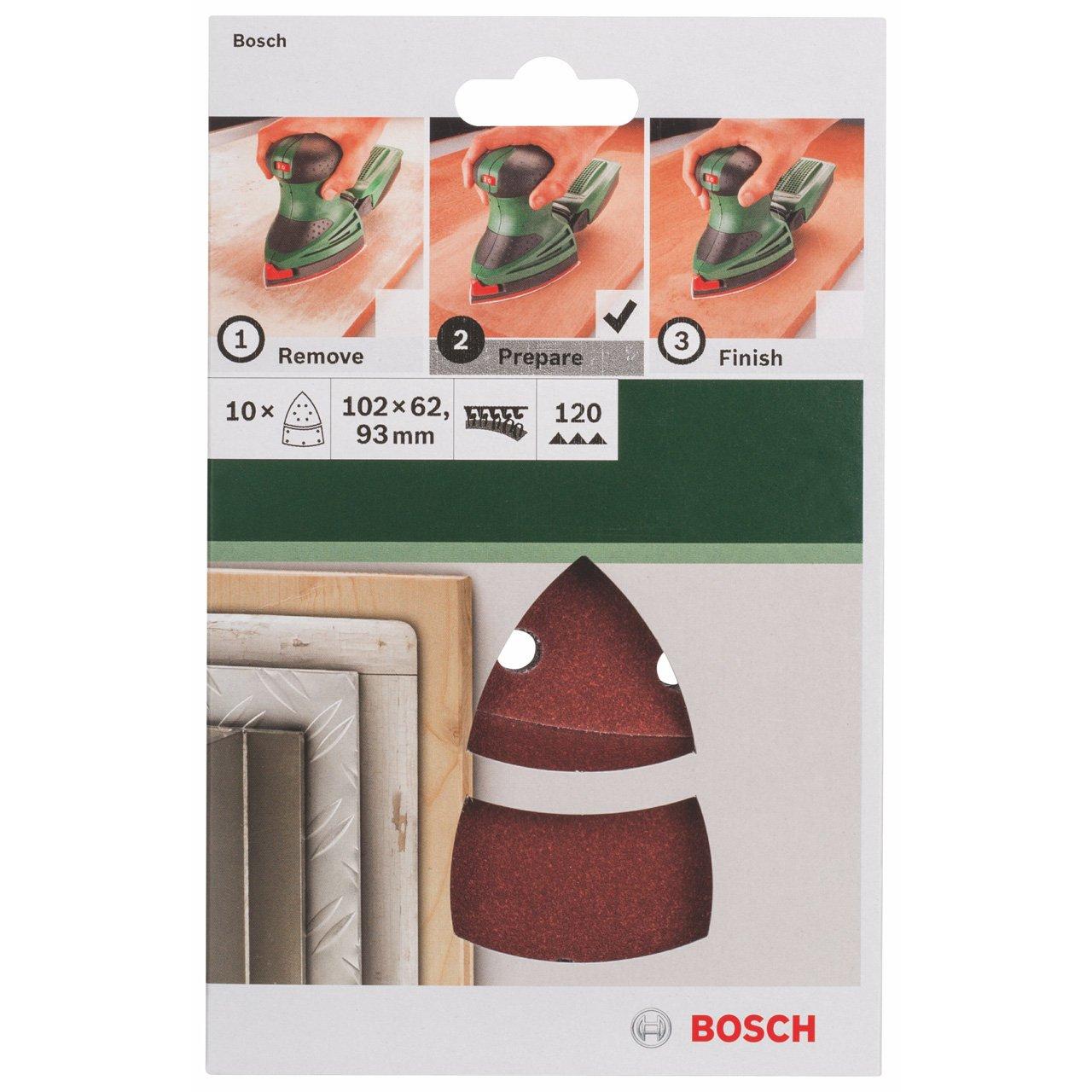 Bosch 2609256A64 Feuilles abrasives pour Ponceuses Multi 102 x 62,93 Nombre de trous 11 Grain 120 Lot de 10 feuilles