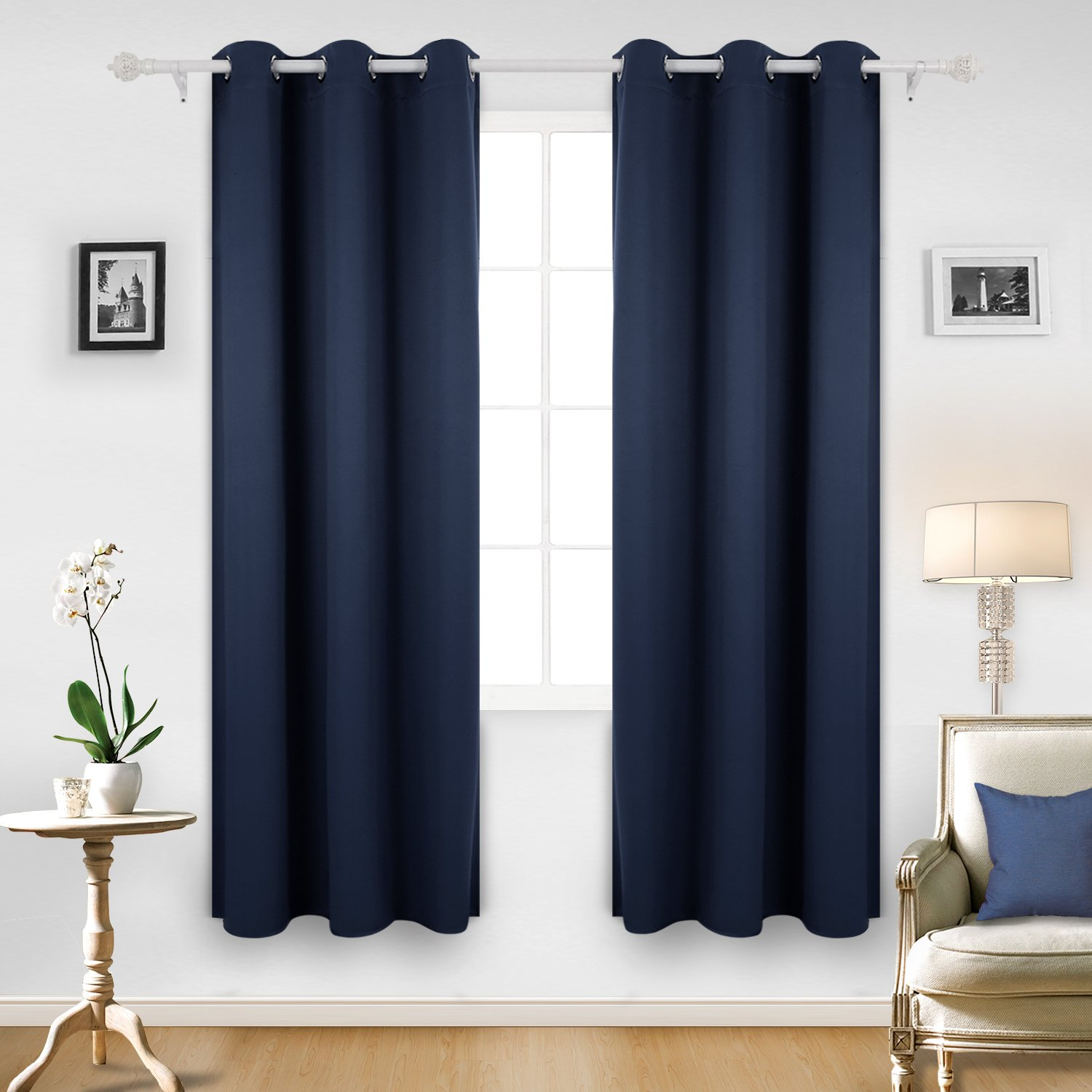 Deconovo Room Darkening Thermal Insulated Blackout Grommet Window Curtain for Bedroom, Navy Blue