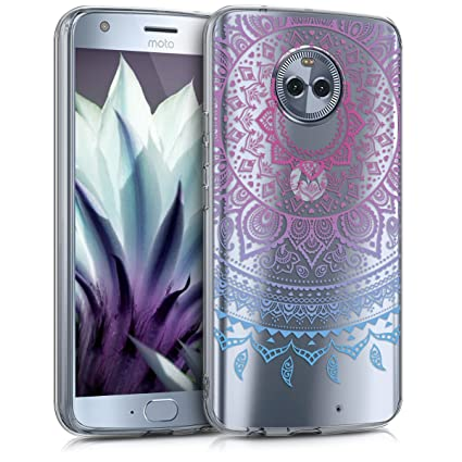 kwmobile TPU Silicone Case for Motorola Moto X4 - Crystal Clear Smartphone Back Case Protective Cover - Blue/Dark Pink/Transparent