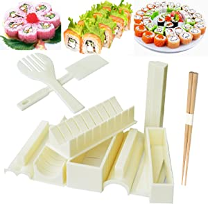 Sushi Maker, Sushi Mold is Equipped with Food Grade Materials, Sushi Making Kit Machine Contains 10 Plastic Parts, Sushi Mold Have 8 Different Shapes,Diy Home Sushi Maker (Creamy-White)