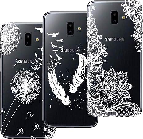 HopMore 3X Funda para Samsung Galaxy J6 Plus (J6+) 2018 Silicona Transparente Dibujo Bonita Gracioso TPU Fundas Carcasas Ultrafina Resistente Slim Case Antigolpes Caso Cover Protección: Amazon.es: Electrónica