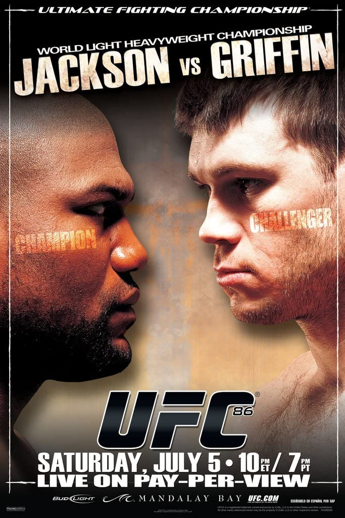 Pyramid America Official UFC 86 Quinton Rampage Jackson vs Forrest Griffin Sports Cool Wall Decor Art Print Poster 12x18