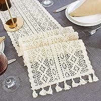 HAVII 10 x 102 Inch Macrame Table Runner Handmade Cotton Crochet Lace Boho Wedding Table Runner with Tassels for Rustic…