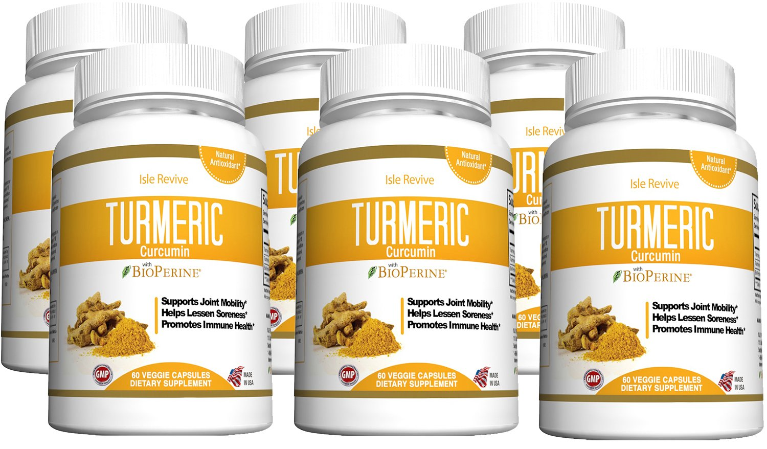 Turmeric Curcumin Powder Capsules with Bioperine - Highest Potency Joint and Wellness Energy Support with 95% Standardized Curcuminoids. Non-GMO, Gluten Free with Black Pepper - 6 Bottles Made in USA