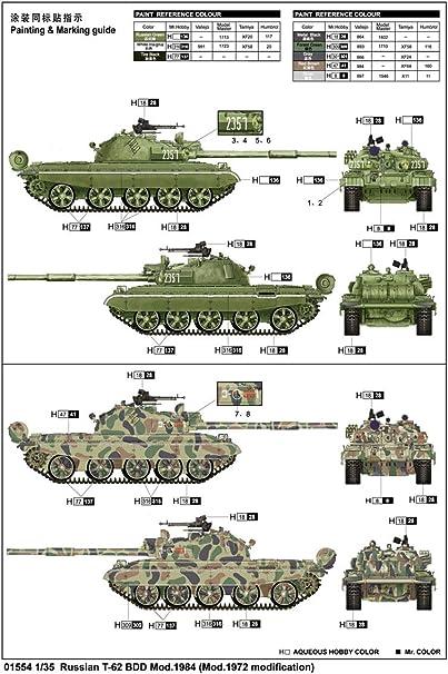 1984 in 1:35 Trumpeter 1554 Russian T-62 BDD Mod
