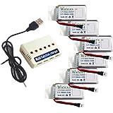 Batterie Wwman 6pcs 3.7V 780mah e caricabatteria 1to6 per UDI U45 U42 U42W SYMA X5SC Rc Quadcopter Drone Ricambi