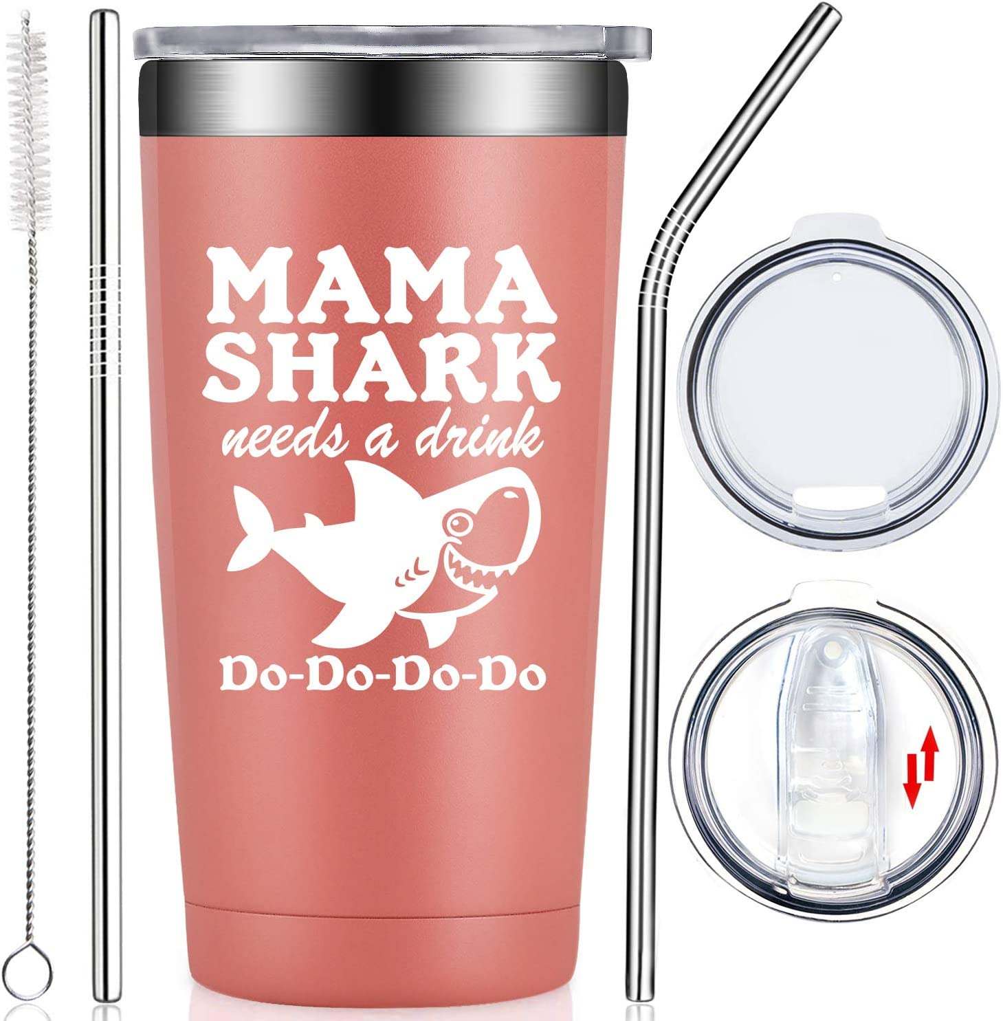 Fufendio Gifts for Mom - Mama Shark Needs a Drink - Funny Best Mom Birthday Gifts from Daughter, Son, Kids - Mother's Day Present Idea for New Mom, Mommy, Wife, Women - Tumbler Cup with Lid and Straw