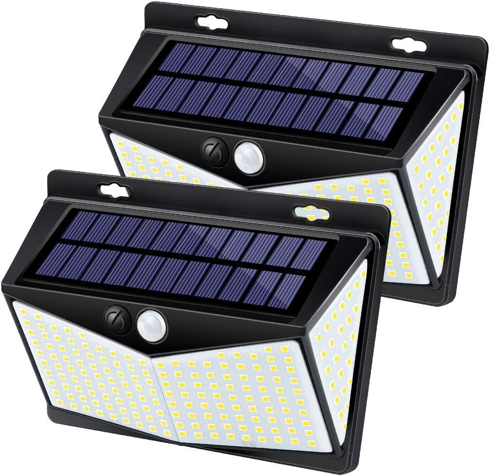 Upgrade 208 LEDs Solar Lights Outdoor, IKSTAR Motion Sensor Light Outdoor Solar Powered 270 Wide Angle, IP65 Waterproof, 3 Sensor Modes, Portable Solar Security Lights for Porch, Yard, Steps – 2 Pack