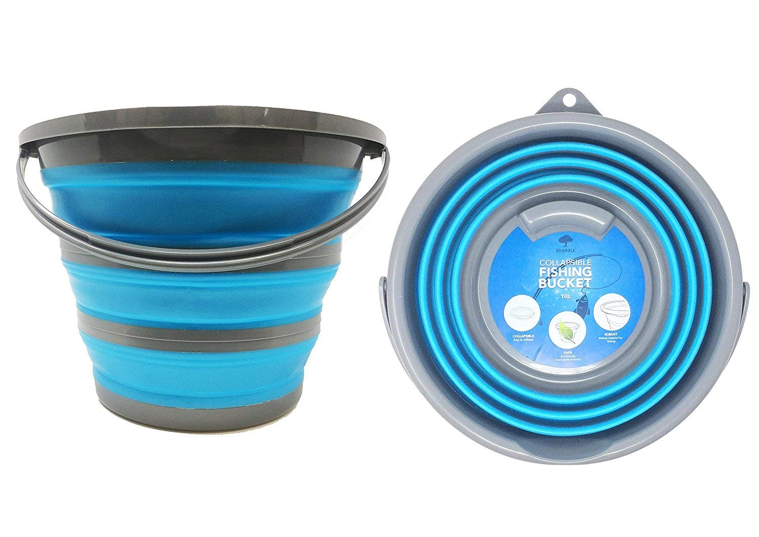 Collapsible Portable Household Bucket - up to 10 Litre Folding Water Storage - Ideal Home Cleaning, Window Washing, Outdoors Activities, Fishing & Camping Bramble