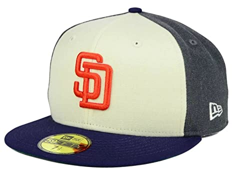 Image Unavailable. Image not available for. Color  San Diego Padres Tri  Tone Fitted Size 7 3 8 Hat Cap ... 369eb453fd31