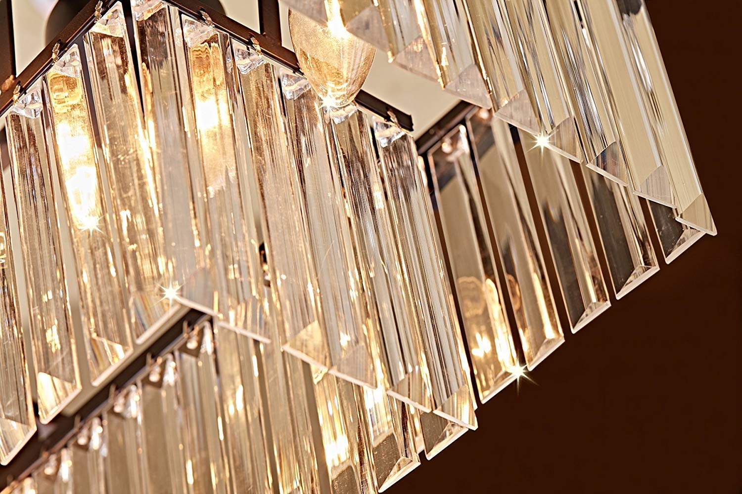 Saint Mossi Modern K9 Clear Crystal Bar Rectangle Raindrop Chandelier Lighting LED Ceiling Light Fixture Pendant for Dining Room Bathroom Bedroom Livingroom 8 E12 Bulbs Required H10'' X L34''X W14''