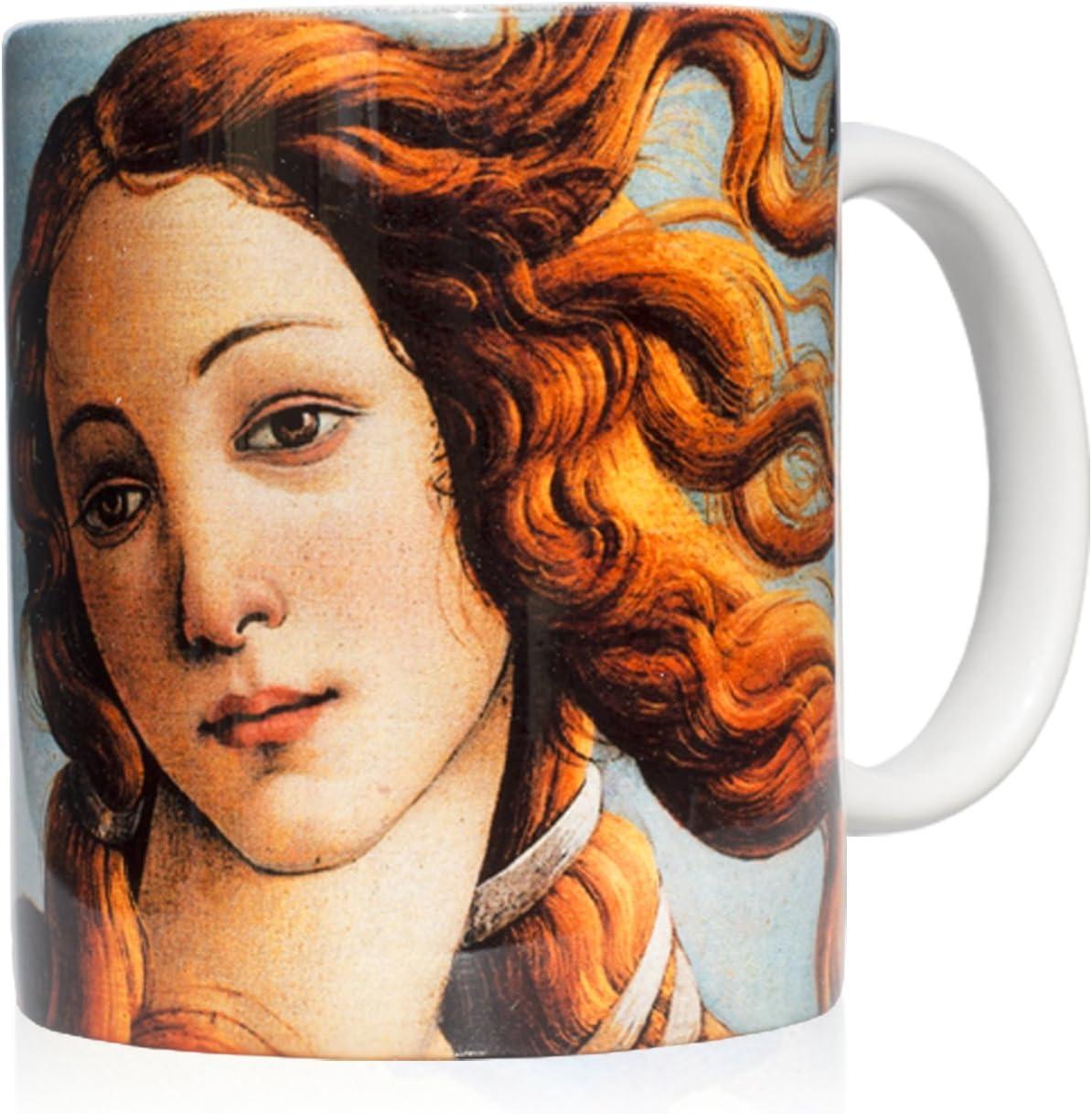 """We Love Art Taza mug Desayuno de cerámica Blanca 32 Cl. con impresión de Detalle Cuadro """"El Nacimiento de Venus"""" Autor Botticelli"""