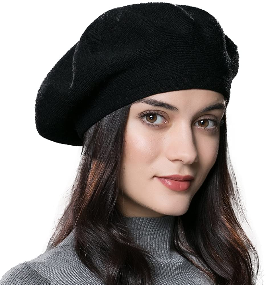 ENJOYFUR Womens Winter Beret Hat Knitted Beanie Cap Autumn Winter Hat French Classic Beret