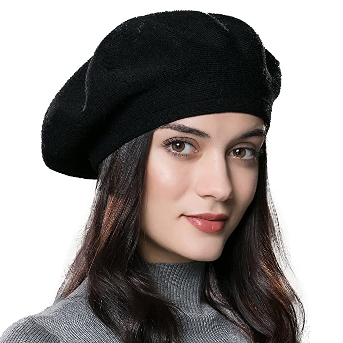 51ce42a871e ENJOYFUR Women Beret Hat Wool Knitted Cap Autumn Winter Hat (Black ...