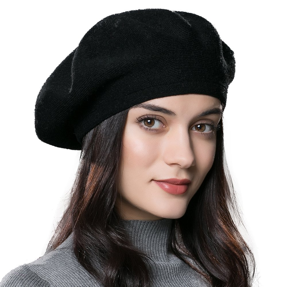 80c68f47cf0fc9 ENJOYFUR French Style Beret Hats,Wool Knit Solid Color Womens Berets,Lightweight  Casual Soft Classic Beret Hats for Women