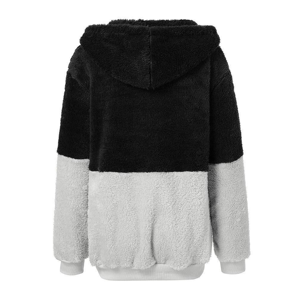 manadlian Femmes Manteaux, Veste Femme Polaire Zippé Sweat-Shirt à Capuche Manteau Hoodie Chaud Automne Hiver Cardigan Noir#