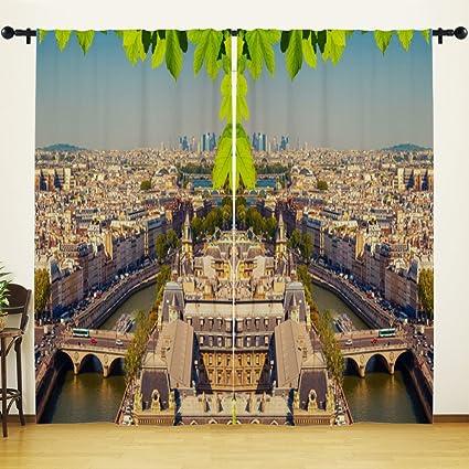 HGOD DESIGNS France Houses Rivers Bridges Paris Window Curtains Panels  Drapes For Living Room Bedroom Kitchen