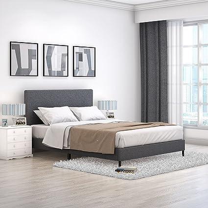 Marco de cama doble de 122 cm, tela gris tapizada, base de ...