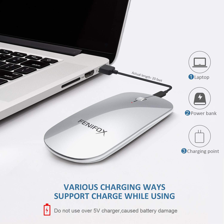 Ratón Fenifox con Bluetooth, Plano, Delgado, silencioso, pequeño, silencioso, óptico, portátil, de Viaje, para Ordenador portátil, PC, Tableta Android ...