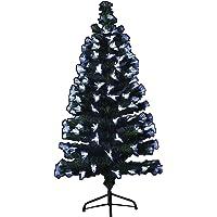 Sapin de Noël artificiel lumineux en fibre optique + 88 LED + 8 Jeux de lumière - livré avec son pied - Hauteur 90 cm