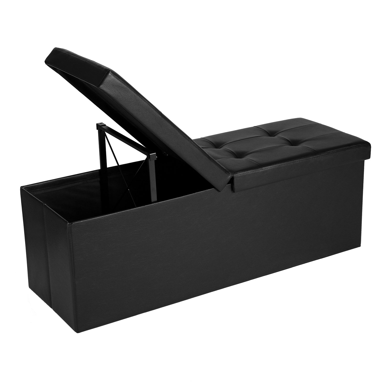 SONGMICS 43'' L Folding Storage Ottoman Bench with Flipping Lid, Faux Leather Storage Chest with Iron Frame Support, Black ULSF75BK