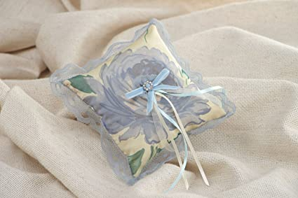 Cojin para anillos de boda con estampado floral con encaje ...