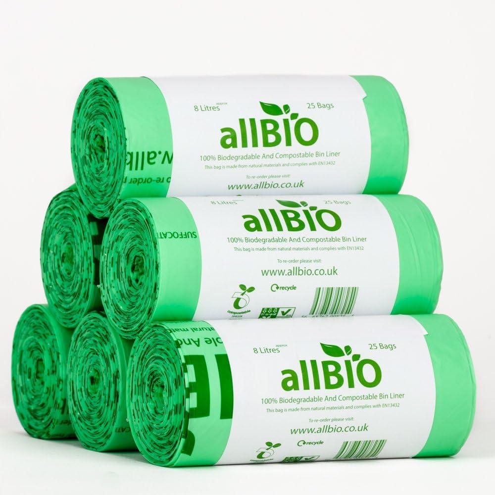 6 x 25 bags allBIO 8 Litre 100% Biodegradable & Compostable ...