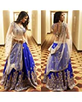 Lehenga choli for women (Generative Shoppe for women party wear lehenga choli for Heavy Embroidered for Taffeta) (Blue)