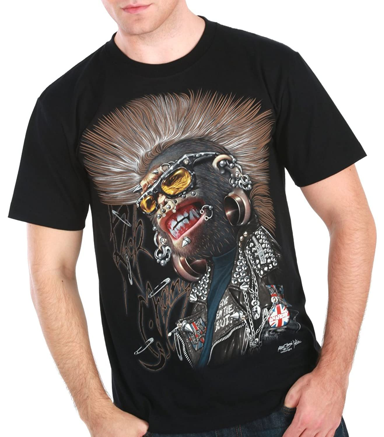Monkey Punk T-Shirt 3D Motorcycle Hip Hop Tattoo Skateboarding Biker #T3
