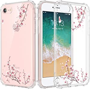 """Caka iPhone SE 2020 Case Clear Design, iPhone 7 Case iPhone 8 Case Clear with Design Floral Clear Flowers Pattern for Girls Women Girly Slim Thin Fit TPU Case for iPhone SE 2020 7 8 4.7"""" (Plum Flower)"""