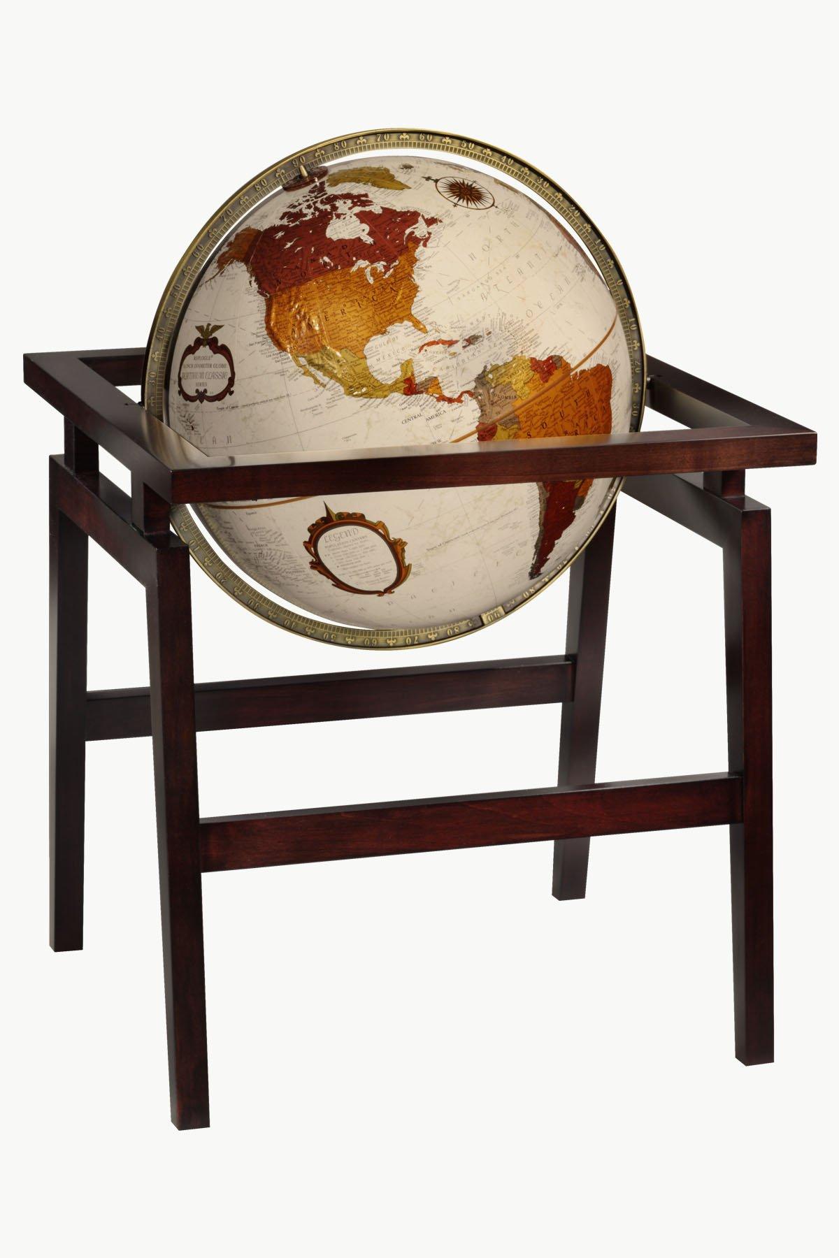 Replogle Madison Floor Model Bronze Metallic Raised Relief with Dark Mocha Hardwood Stand World Globe(16''/40cm diameter)