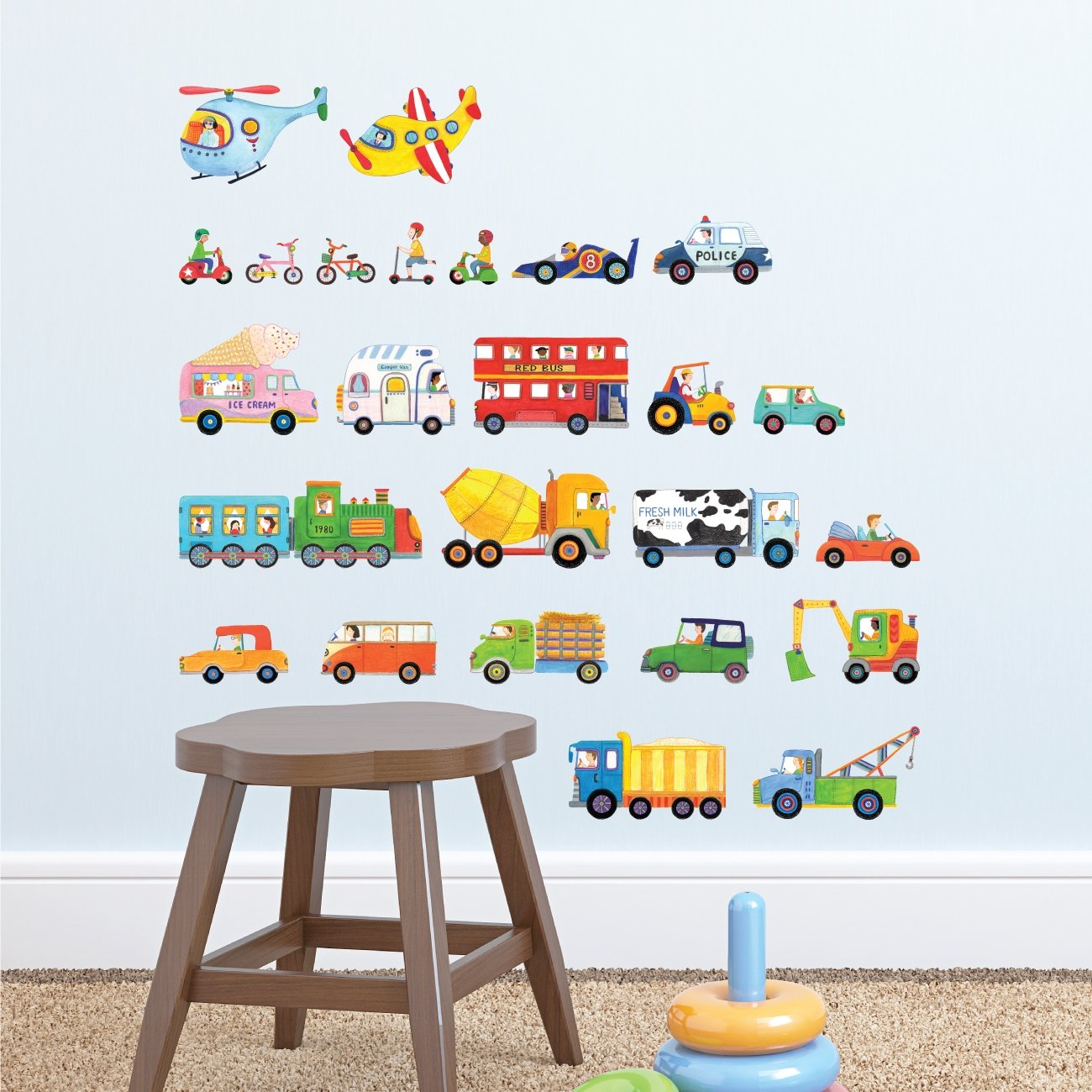 Decowall DW-1405 The Transports Kids Wall Stickers Wall Decals Peel and Stick Removable Wall Stickers for Kids Nursery Bedroom Living Room (Medium)