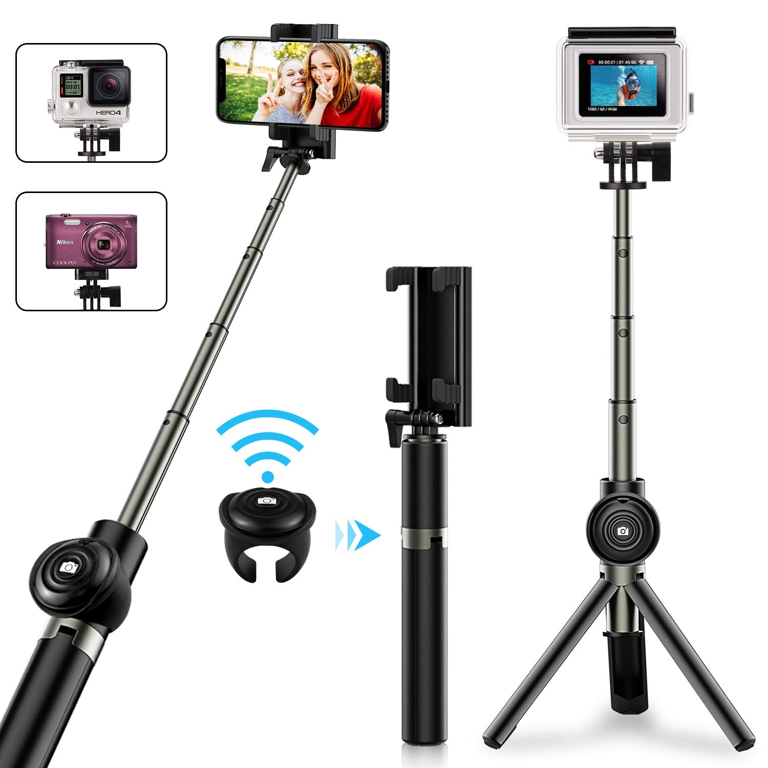 Selfie Stick Tripod, Vproof Extendable Bluetooth Selfie Stick with Detachable Wireless Remote, Compact Monopod for iPhone Xs Max/XR/XS/X/7 Plus/6S Plus, Galaxy Note 9/S9, GoPro Cameras (Black) 1-ST-B