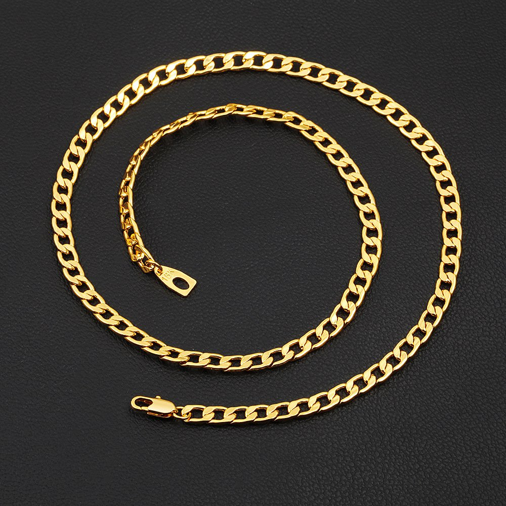 18Inches-32Inches SWOPAN 18K Gold Plated 5MM-9MM Wide Curb Cuban//Figaro//Snake Chain Link Necklace for Pendant Men Women Hip Hop Hiphop Mens Fashion Jewelry Gifts with 18K Stamp