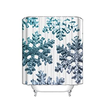 64ac0187 Silver White Diamond Shiny Snowflake Shape Seamless Shower Curtain  Mildew-Free Fabric For Bathroom 72