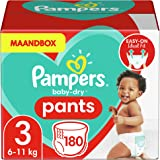 Pampers Maat 3 Baby-Dry Luierbroekjes, 180 Stuks, MAANDBOX, Eenvoudig en Leuk Verschonen Overdag en Bescherming 's…
