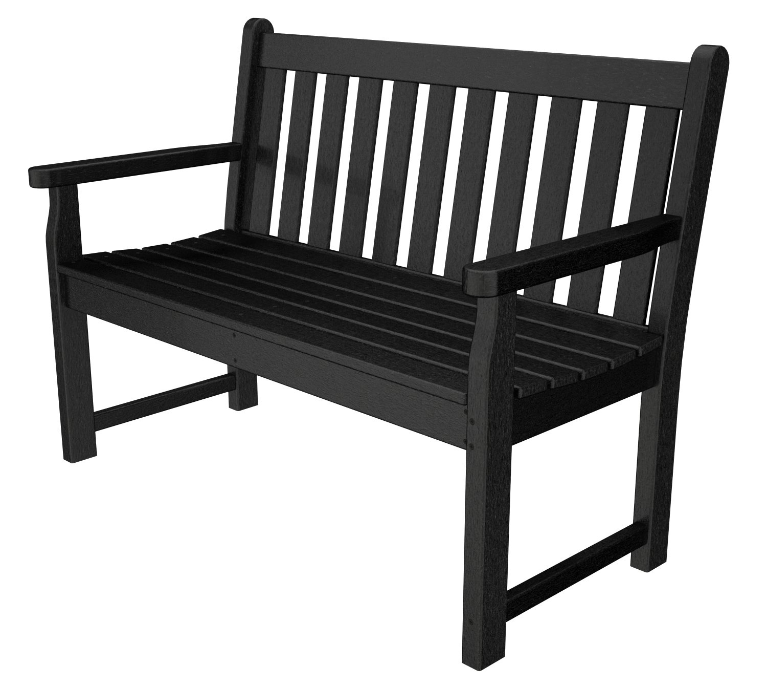 Poly Wood TGB48BL Traditional Garden 48 in. Bench - Black
