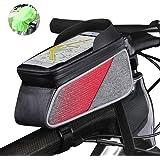 ROTTO トップチューブバッグ 自転車 フレームバッグ 防水 6.5インチまでスマホ対応 タッチパネル操作可能 小物入れ 取り付け簡単 軽便 安定 レインカバー付き