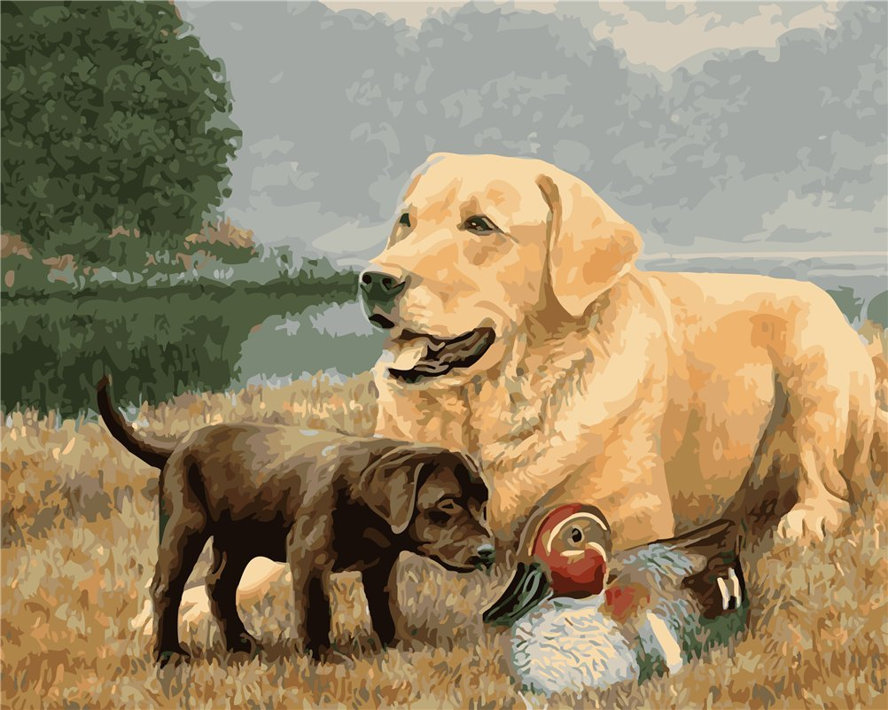 CaptainCrafts New DIY Paint by Numbers 16x20 for Adults Beginner kit, Kids Linen Canvas - Two Dogs and Ducks (Frameless)