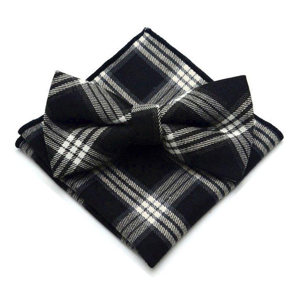 Secdtie Mens Pre-tie Plaid Tuxedo Neck Bowtie Casual Bow Ties Pocket Square Set
