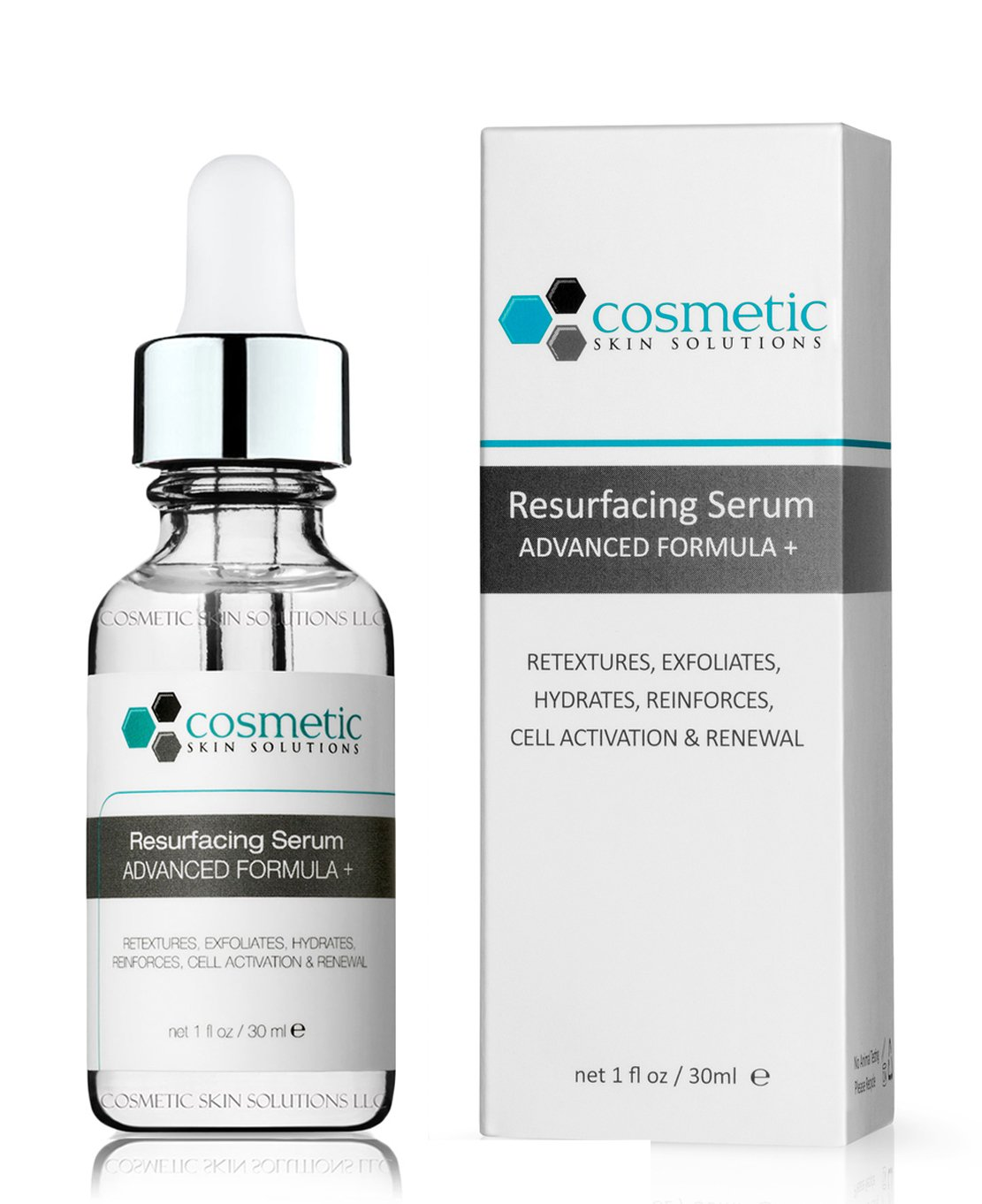 Best Resurfacing Serum Advanced Formula + 1 fl oz / 30 ml - Exfoliates, retextures, activates, replenishes, & hydrates.