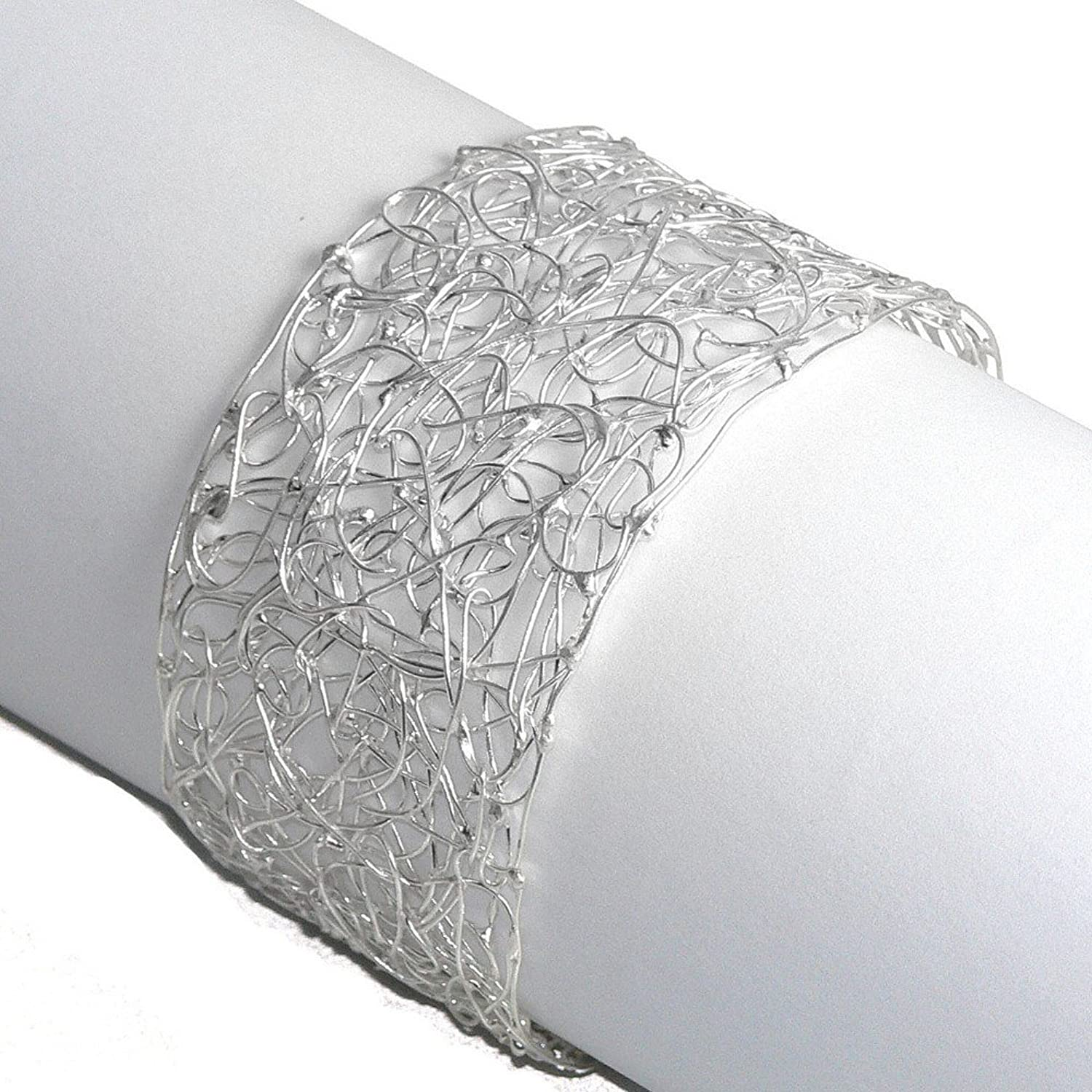Franki Baker Delicate Statement Cuff Style Bracelet Bangle of Finely Woven 925 Sterling Silver Wire rogmE