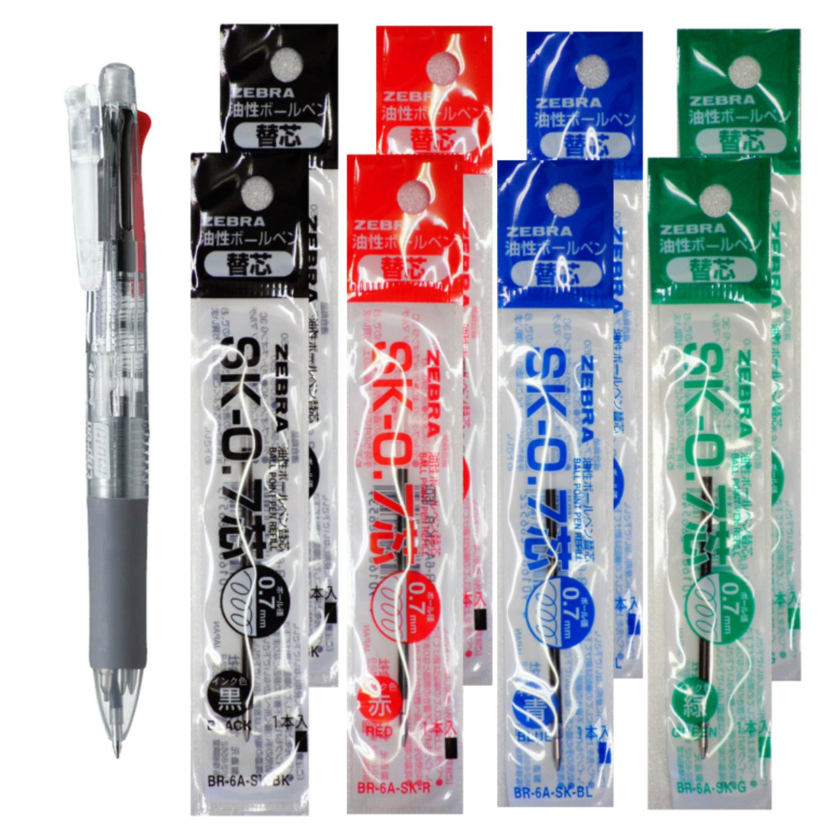 Zebra B4SA-1 Clip-on multi 0.7mm Multifunctional Pen, Clear Body & 4 Color(Black/Blue/Red/Green) Refills 8 Total Value Set
