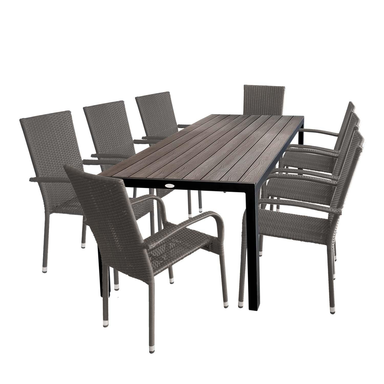 Gartengarnitur Gartentisch Mit Polywood Tischplatte 205x90cm + 8x Stapelbare  Gartenstühle Polyrattan Rattanstuhl Stapelstuhl Gartenmöbel Set Sitzgruppe  ...