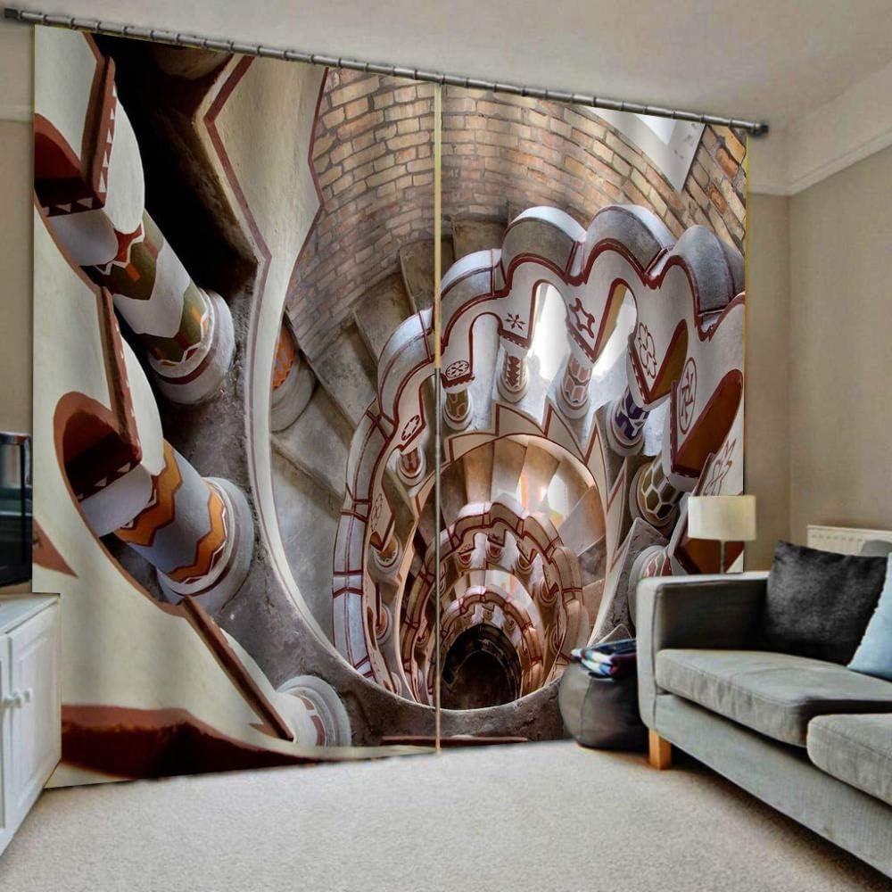 HomeAZWQ Cortinas Dormitorio Moderno para Ventana Salon Cocina, Decoracion De Interiores Escalera Románica De Caracol H245 X W340Cm: Amazon.es: Hogar