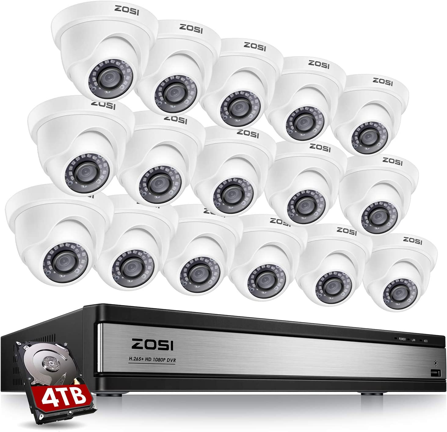ZOSI H.265+ 1080p 16 Channel Security Camera System,16 Channel CCTV DVR with Hard Drive 4TB and 16 x 1080p Indoor Outdoor Dome Camera, 80ft Night Vision, 105° View Angle, Remote Control, Alert Push