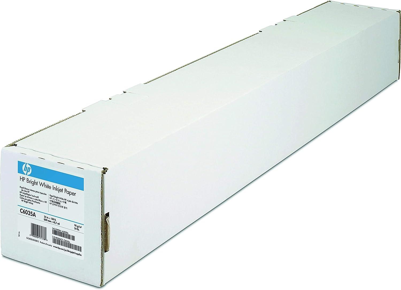 Papel Mate - HP Plotter C6035A Papel Blanco Brillante para Inyección de Tinta de Color Blanco Brillante - Rollo A1 (61.0 cm x 45.7 m - 90 g / m2-1 Bobina (S): Amazon.es: Oficina y papelería