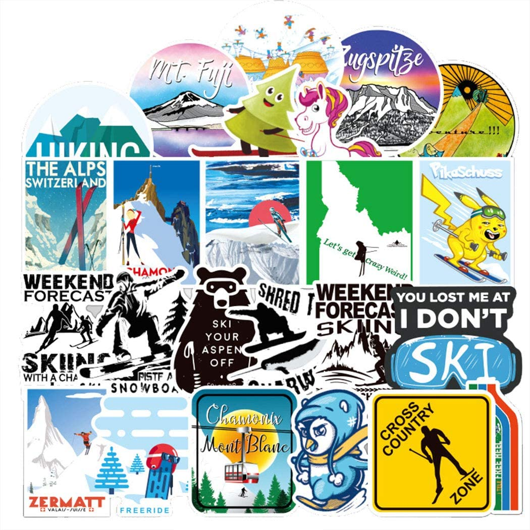 Skiing Stickers 70 Pcs Vinyl Waterproof Stickers for Personalize Laptop, Electronic Organ, Guitar, Piano, Helmet, Skateboard, Luggage Graffiti Decals (Stickers -174)